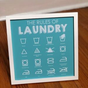 The Rules of Laundry Room Small Wall Sign Art Teal